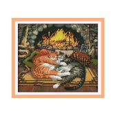 DIY Handmade Needlework Counted Cross Stitch Set Embroidery Kit 14CT Sleeping Cats Pattern Cross-Stitching 49 * 43cm Home Decoration