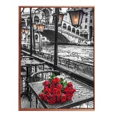 DIY Handmade Diamond Painting Set Roses River Resin Rhinestone Pasted Cross Stitch for Home Decoration 30*45cm