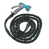 25FT Anself Expandable Ultralight Garden Hose Fittings Set Flexible Water Pipe + Faucet Connector + Fast Connector + Valve + Multi-functional Spray Nozzle Black and Green