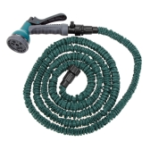 25FT Anself Expandable Ultralight Garden Hose Fittings Set Flexible Water Pipe + Faucet Connector + Fast Connector + Valve + Multi-functional Spray Nozzle Dark Green