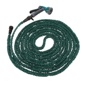 50FT Anself Expandable Ultralight Garden Hose Fittings Set Flexible Water Pipe + Faucet Connector + Fast Connector + Valve + Multi-functional Spray Nozzle Dark Green