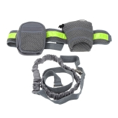 Reflective Running Leash for Pets Dogs Elastic Hands-free Waist Belt Strap Traction Rope with Water Bottle Holder + Dog Treats Bag