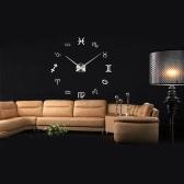 DIY Mirror Effect Wall Clock Creative Symbol Sticker Set Acrylic Art Design Home Decoration Black