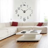 DIY Fashion Mirror Effect Wall Clock Removable Acrylic Decals Set Home Decoration Silver
