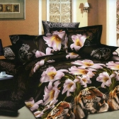 4pcs 3D Printed Bedding Set Bedclothes Tiger and Lily Flower Queen/King Size Duvet Cover+Bed Sheet+2 Pillowcases