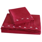 Comfortable Pure Color with Special Decoration Lotus Embroidery Twin Set Facial & Skincare 100% Polyester Home Bedding Three Pieces Flat Sheet Fitted Sheet Pillowcase