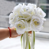 Wedding Decoration Supplies Hand Made Real Touch Silk Flower Roses Salable Product for Bride or Bridesmaid Bouquet with Artificial Diamond and Ribbon White/Pink Valentines Gift