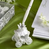 Fashion Wedding Pen with Elegent Pumpkin Carriage Pen Stand Excellent Wedding Supplies
