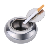 Stainless Steel Drum Shape Ashtray Windproof Cigarette Cigar Ash Holder with Lid