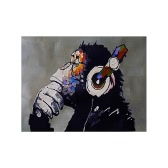 60*70cm Hand-painted Modern Abstract Oil Painting Orangutan Listening to Music Decorative Art for Home Living Room Bedroom Office Hotel Decoration