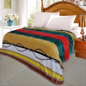 Grid Square Pattern Printed Flannel Blanket Bed Sheet Bedclothes Home Textiles King Size 200 * 230CM