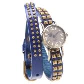 Women Lady Quartz Wrist Watch Rivet Round Wrap Strap Bracelet Genuine Cow Leather