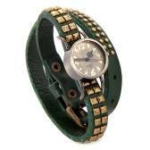 Women Lady Quartz Wrist Watch Vintage Rivet Round Wrap Strap Bracelet Genuine Cow Leather