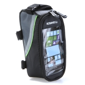"Bike Bicycle Frame Front Tube Bag Transparent PVC with Audio Extension Line for 4.2"" Cellphone Green"