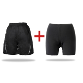 2 in 1 Leisure Shorts + Gel 3D Padded Cycling Underwear Loose Bicycle Bike MTB Pants