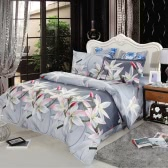 4pcs 3D Printed Bedding Set Bedclothes White Lily on Light Black Background King Size Duvet Cover+Bed Sheet+2 Pillowcases
