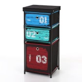 iKayaa Antique Style Fabric 3-Drawer Home Office Storage Cabinet Organizer for Clothes Toys Sockets Storage Box