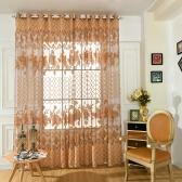 Anself Fashion French Window Big Flowers Jacquard Burnt-out Half Shading Voile Curtain for Door Window Room Decoration Window Screening Drape Scarf Curtains Bedroom Decor 2PCS
