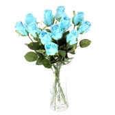 12PCS Artificial Rose Flower Soft PU Real-Like Simulation Rose Bouquet with Single Stem for Wedding Bridal Party Home Hotel Decoration