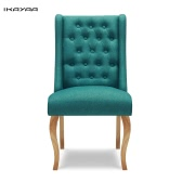 iKayaa Antique Style Tufted Kitchen Dining Chair Linen Fabric Accent Chair Upholstered Side Living Room Chair W/ Rubber Wood Legs