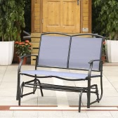 iKayaa 2 Person Patio Swing Glider Bench Chair Loveseat Textliene Garden Outdoor Rocking Chair Seating Steel Frame