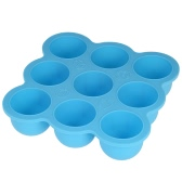 Multifunctional 9-Grids BPA-free Silicone Ice Cube Maker Baby Food Storage Trays Chocolate Candy Jelly Molds with Lid