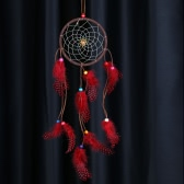 "Traditional Indian Style Dream Catcher with Wave Point Real Feather Bead Wall Home Decoration Car Ornament 4.92""Diameter 19.69""Long"