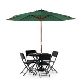 iKayaa 3M Wooden Patio Umbrella Garden Umbrella  Outdoor Cafe Beach Umbrella 8 Ribs 48MM Pole W/ Air Vent 180g Polyester