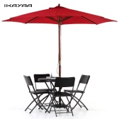 iKayaa 3M Wooden Patio Garden Umbrella Sun Shade Outdoor Cafe Beach Parasol Canopy 8 Ribs 48MM Pole W/ Air Vent 180g Polyester