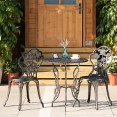 iKayaa 3PCS Modern Outdoor Patio Bistro Set Iron Aluminum Porch Balcony Garden Table & Chairs Set Furniture Rose Design Antique Copper