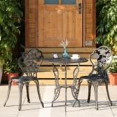 iKayaa 3PCS Modern Outdoor Patio Bistro Set Iron Aluminum Porch Balcony Garden Table & Chairs Set Furniture Rose Design Antique Copper