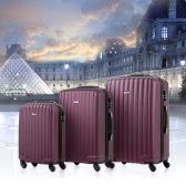 "TOMSHOO Hard Shell 3 Piece Luggage Set Carry On Suitcase 20""/24""/28"" Travel Spinner ABS Trolley + Combination Locks"