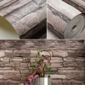 Vivid 3D Vintage Faux Stone Brick Wallpaper Removable Brick Wall Pattern Wallpaper Room Decoration Background 0.53m*10m=5.3㎡
