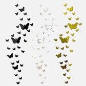 25pcs Adhesive DIY 3D Butterfly Mirror Wall Living Room Bedroom Bathroom Stick Decal Home Party Decoration Decor Art Mural Stickers
