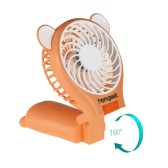 Homgeek Portable Bear Shape Mirror Cute Mini Handheld Table Foldable Fan 2 Speed for Home   Office USB Rechargeable With Mirror Function