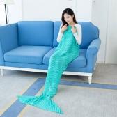 "Fashion Beautiful Knitted Mermaid Tail Blanket Crochet Sleeping Bag 70.9 ""× 35.4"" Sofa Living Room for All Seasons Adult"