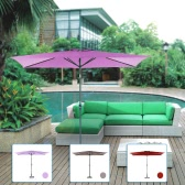 iKayaa 2*3M Aluminium Patio Garden Umbrella with Crank Tilt Sun Shade Outdoor Cafe Beach Parasol 6 Steel Rib W/Air Vent 180g Polyester