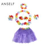 Anself New Child Hawaiian Dance Kit Hawaii Hula-hula Hula Skirt 6PCS Set Grass Skirts Including Flower Lei + Neck Ring + 2 Lei Bracelets + Bra Garland