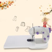 Anself Mini Household Purple Electric Sewing Machine 2 Speed Adjustment with Light Foot Pedal Extension Table AC100-240V