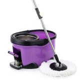 iKayaa Hands-free Stainless Steel 360°Rotating Spin Mop Bucket Set with Foot Pedal Self-Wring Floor Mop + 2 Microfiber Mop Head + Scrub Brush + Chenille Mop Head