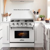 "THOR KITCHEN HRD3088U Professional 30inch Dual Fuel Range Freestanding 30"" 4 Burner 4.2 Cu. Ft Stainless Steel Gas Range Electric Oven"