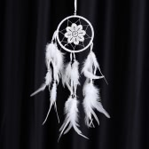 "Aesthetic Handmade Dream Catcher with Feather Bead Eight-leaf Flower Pattern Wall Home Decoration Ornament Car Pendant 4.25""Diameter 18.11""Long"