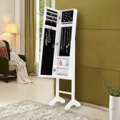 Fashion Standing Jewelry Cabinet Armoire Classy Jewelry Storage Box Organizer with Real Dressing Mirror