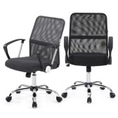 iKayaa Ergonomic Adjustable Mesh Office Executive Chair Stool 360°Swivel Computer Task Chair Office Furniture