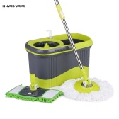 iKayaa Press Type Stainless Steel 360°Rolling Magic Spin Mop & Bucket Set Rotating Floor Mop W/ 2 Mop Heads