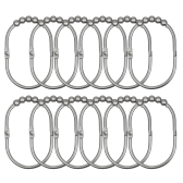 12pcs/set Shower Curtain Rings Hooks Rust-proof Stainless Iron Curtain Hooks Set Easy Sliding Ball Bearing Ring Hook