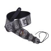 Adjustable Guitar Shoulder Strap Snakeskin Grain PU Leather 7.2cm / 2.8in Width with Pick Pocket Tie for Acoustic Folk Classical Electric Guitar Bass Black