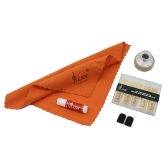 LADE 5-in-1 Aluminum Alloy Mute Mouthpiece Patch Bamboo Reed Cleaning Cloth Cork Grease Accessories Kit for Soprano Saxophone Sax