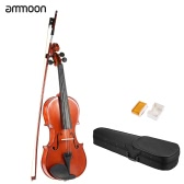 ammoon 3/4 Solid Wood Antique Violin Fiddle Gloss Finish Spruce Face Board with Hard Case Bow Rosin