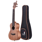 "21"" Acoustic Wooden Soprano Ukulele Ukelele Uke Mahogany Wood Carbon String with Padded Carrying Bag Strings Strap Clip-on Tuner"